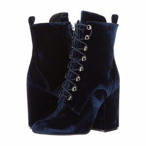 Kendall + Kylie Bridget Dark Blue Velvet Bootie